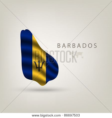Flag Of Barbados As A Country With A Shadow