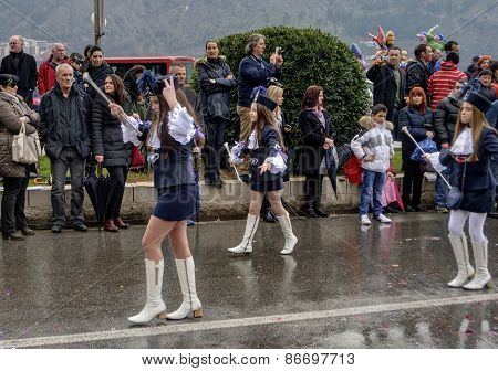 Young majorettes in carnival.