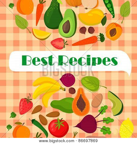Recipe Template Vector Design With Fruits And Vegetables:  Banana, Mango, Papaya, Orange, Lemon, Str