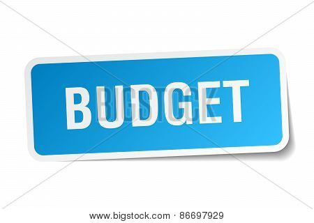 Budget Blue Square Sticker Isolated On White