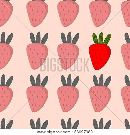 Beautiful Seamless Pattern With Strawberries In Vector. Cute Background In Monotone Colors With Colo