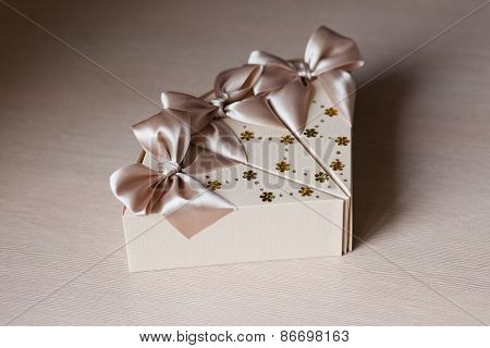 Box-shaped piece of cake. Bonbonniere. candy-box