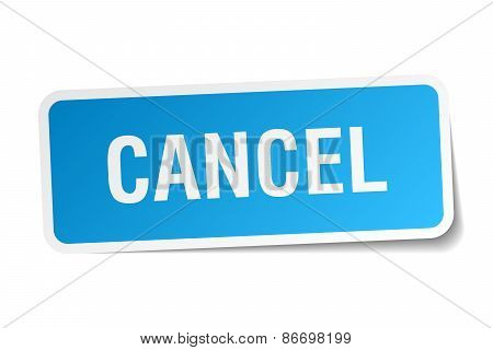 Cancel Blue Square Sticker Isolated On White