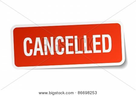 Cancelled Red Square Sticker Isolated On White