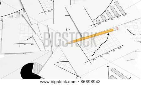 Business paper documents pile with info charts and pencil