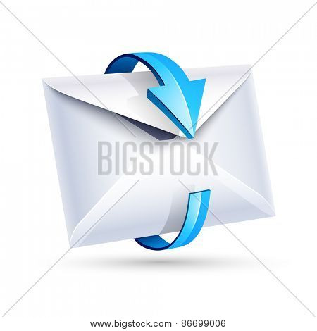 Open email letter with blue arrow isolated on white. Vector illustration