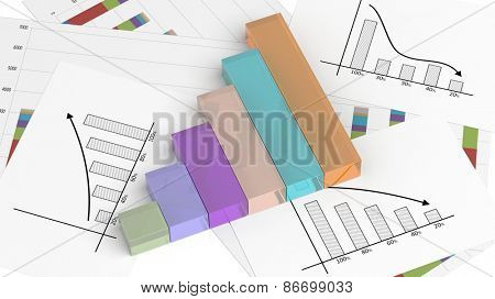 Colorful business bar chart on documents
