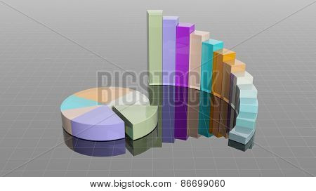 Colorful 3D business round bar and pie charts infographic