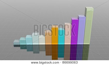 Colorful 3D business bar chart infographic