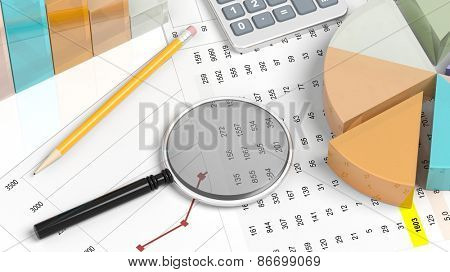 Colorful business pie chart with pencil,magnifier and documents closeup