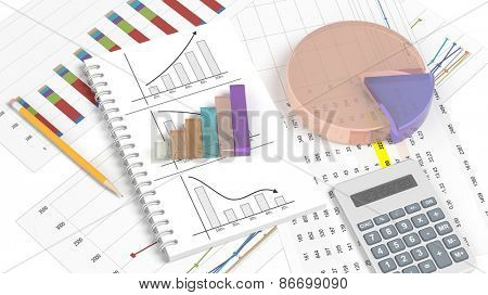 Colorful business pie and bar chart on documents