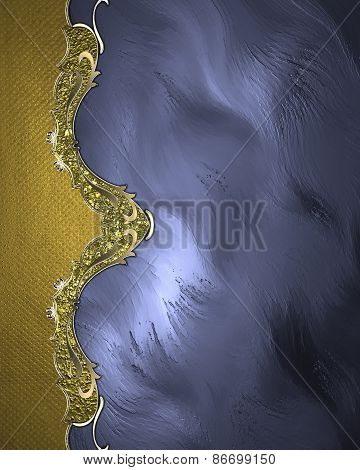 Element For Design. Template For Design. Abstract Blue Background With Gold Ornaments
