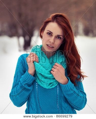 Fashion Portrait Of Beautiful Woman Looking To Camera