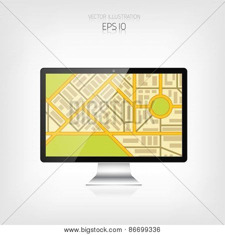 Navigation background with monitor and map.Responsive web design. Adaptive user interface.