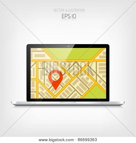 Navigation background with laptop and map.Responsive web design. Adaptive user interface.