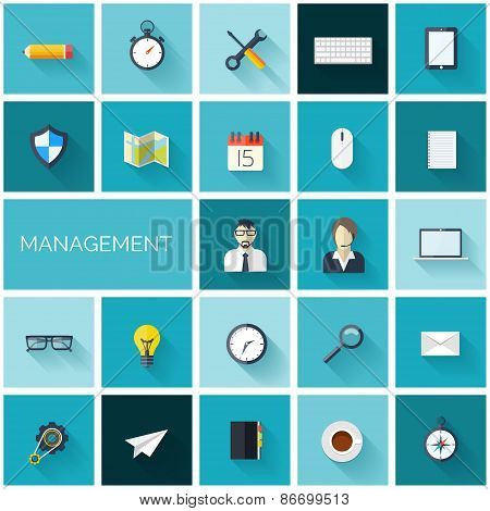 Flat management set of icons. Business and marketing.