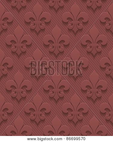 Marsala color fleur-de-lis perforated paper with cut out effect. Abstract 3d seamless background. Vector EPS10.