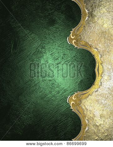 Element For Design. Template For Design. Green Background With A Gold Edge Antiques