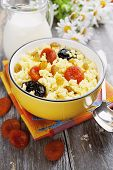 image of porridge  - Millet porridge with dried apricots and prunes in a bowl - JPG