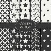 image of starry  - Set of geometric seamless pattern with stars - JPG