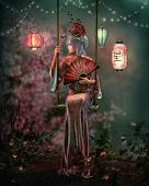 image of fairyland  - 3d computer graphics of an Asian fantasy scene with a lady in a kimono sitting on a swing - JPG