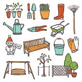 stock photo of hand tools  - Gardening tools decorative icons set with hand drawn farming equipment isolated vector illustration - JPG