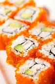 pic of masago  - California Maki Sushi with Masago   - JPG
