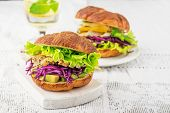 stock photo of red meat  - Burger with avocado - JPG
