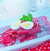 foto of lenten  - beet soup in bowl and on a table - JPG