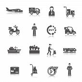stock photo of logistics  - Delivery freight and transportation logistics icons black set isolated vector illustration - JPG