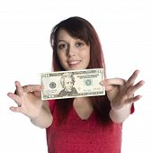 pic of twenty dollar bill  - Close up Happy Young Woman Showing 20 US Dollar Bill While Looking at the Camera - JPG