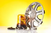 pic of rectifier  - car accessories and road emergency items n yellow background - JPG