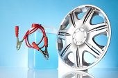 picture of alloy  - car accessories including alloy wheel and jump start cables - JPG