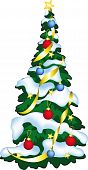 Vector Illustration Of Decorated Christmass Tree.