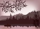 foto of fishermen  - illustration with fishermen and boat silhouette near mountain forest - JPG