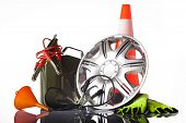 image of rectifier  - car accessories with fuel can and traffic cone - JPG