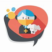 stock photo of vet  - Pet Vet And Dog Flat Icon With Long Shadow - JPG
