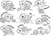 pic of black cat  - Cartoon cat in different poses to illustrate the prepositions of place - JPG