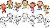 picture of laugh  - Happy kids laughing and jumping with joy - JPG