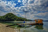 image of pier a lake  - boat in pier on sammer lake - JPG