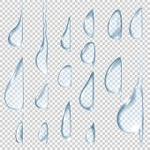 Постер, плакат: Flowing down drops Transparent vector water drops set Can be applied for any background without los