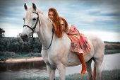 stock photo of horse girl  - The red - JPG