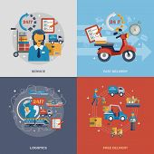 picture of logistics  - Delivery design concept set with fast free logistic service flat icons isolated vector illustration - JPG