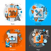 picture of gps navigation  - Navigation design concept set with route satellites navigator and maps flat icons isolated vector illustration - JPG