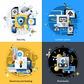 pic of electricity  - Smart house design concept set with security electricity heating and multimedia control system flat icons isolated vector illustration - JPG