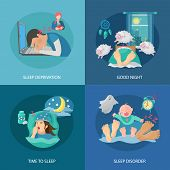 pic of deprivation  - Sleep time design concept set with deprivation and disorder flat icons isolated vector illustration - JPG
