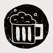 stock photo of drawing beer  - Beer Doodle Drawing - JPG
