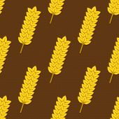 foto of spike  - Bright yellow wheat spikes with ripe grains seamless pattern on brown background for bakery shop or farming design - JPG