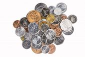 stock photo of copper coins  - A collection of coins from around the world - JPG