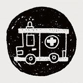 stock photo of ambulance  - Ambulance Doodle Drawing - JPG